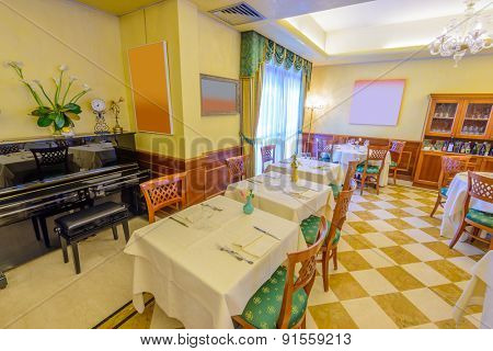 Classic dining room in luxury restaurant hotel.