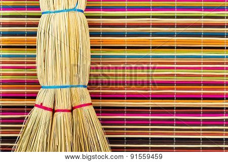 Broom On Colorful Background