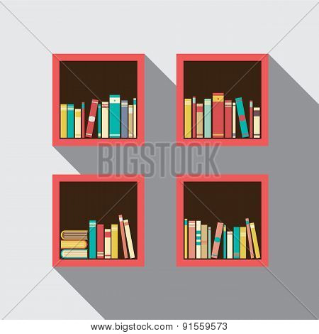 Flat Design Bookshelves Set On Wall.