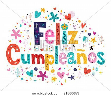 Feliz Cumpleanos - Happy Birthday in Spanish text