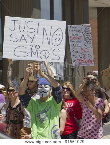Gmo And Monsanto Protesters Hold Signs And March In Asheville