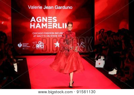 NEW YORK-FEB 12: Actress Valerie Jean Garduno wears Agnes Hamerlin at Go Red for Women-The Heart Truth Red Dress Collection at Mercedes-Benz Fashion Week on February 12, 2014 in New York City.