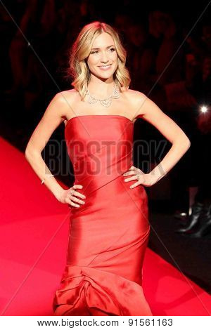 NEW YORK-FEB 12: Actress Kristin Cavallari wears Monique Lhuillier at Go Red for Women-The Heart Truth Red Dress Collection at Mercedes-Benz Fashion Week on February 12, 2015 in New York City.