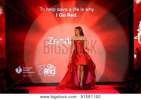 NEW YORK-FEB 12: Actress Zendaya wears Rubinsinger at Go Red for Women-The Heart Truth Red Dress Collection at Mercedes-Benz Fashion Week at Lincoln Center on February 12, 2014 in New York City.