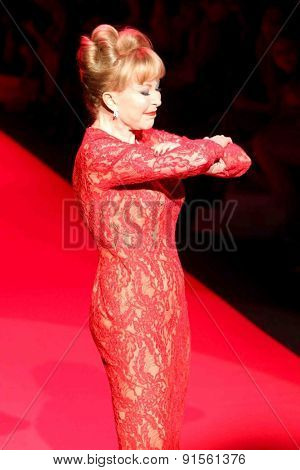 NEW YORK-FEB 12: Barbara Eden wears Carmen Marc Valvo at Go Red for Women-The Heart Truth Red Dress Collection at Mercedes-Benz Fashion Week at Lincoln Center on February 12, 2015 in New York City.