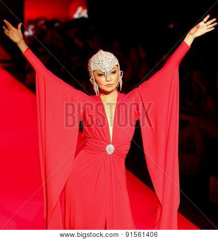 NEW YORK-FEB 12: Model Irina Pantaeva wears Marc Bouwer at Go Red for Women-The Heart Truth Red Dress Collection at Mercedes-Benz Fashion Week at Lincoln Center on February 12, 2015 in New York City.