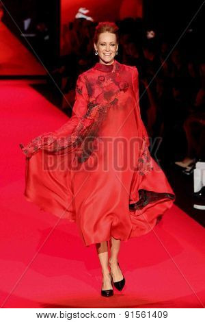 NEW YORK-FEB 12: Valerie Jean Garduno wears Agnes Hamerlin at Go Red for Women-Heart Truth Red Dress Collection at Mercedes-Benz Fashion Week at Lincoln Center on February 12, 2015 in New York City.