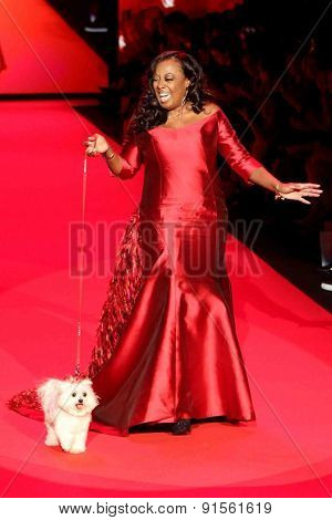 NEW YORK-FEB 12: TV personality Star Jones wears B Michael America at Go Red for Women-The Heart Truth Red Dress Collection at Mercedes-Benz Fashion Week on February 12, 2015 in New York City.