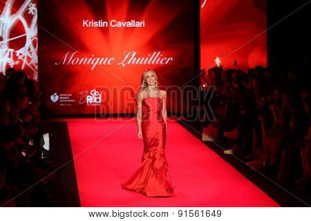NEW YORK-FEB 12: Kristin Cavallari wears Monique Lhuillier at Go Red for Women-The Heart Truth Red Dress Collection at Mercedes-Benz Fashion Week on February 12, 2015 in New York City.