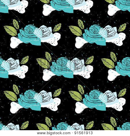 Black Floral Seamless Horror Background