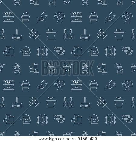 Gardening Line Icon Pattern Set