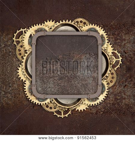 Vintage industrial mechanical background on metal background