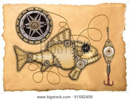 Steampunk style. Industrial mechanical fish isolated on white background. Photo compilation