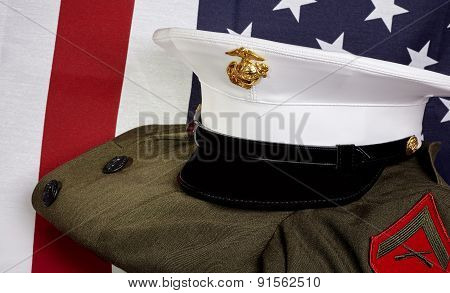 United States Of America Marine Corps And Usa Flag