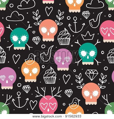 Colorful Background For Day Of The Dead