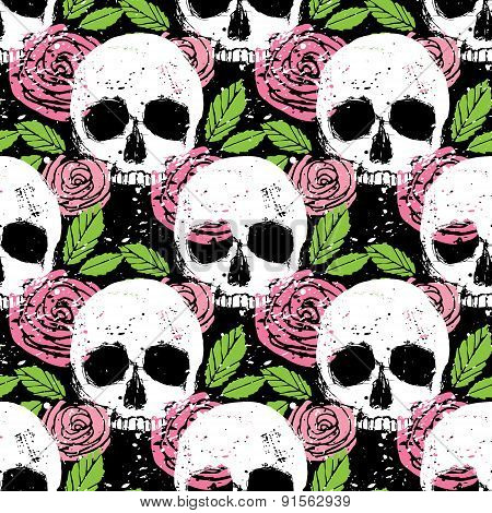 Colorful Seamless Background With Skull, Leaf And Rose