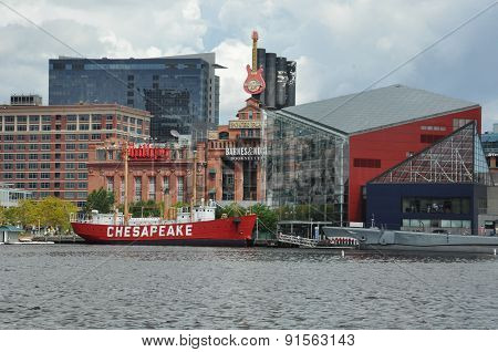 BALTIMORE, MARYLAND - SEP 1: The Inner Harbor in Baltimore, Maryland, as seen on Sep 1, 2014. The Harbor is a historic seaport, tourist attraction and landmark.