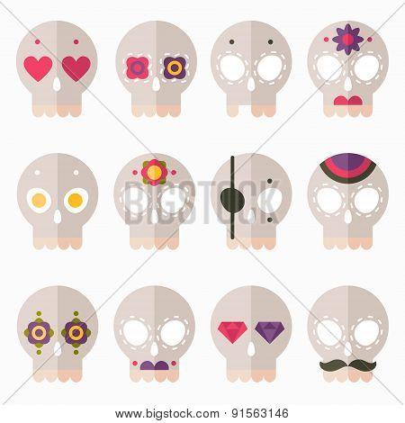 Flat Skull Icon Set