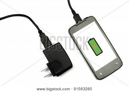 Cellphone And Charger On White Background, Isolated, Full Charging