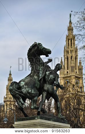 Statue of Man with Horse in Vienna
