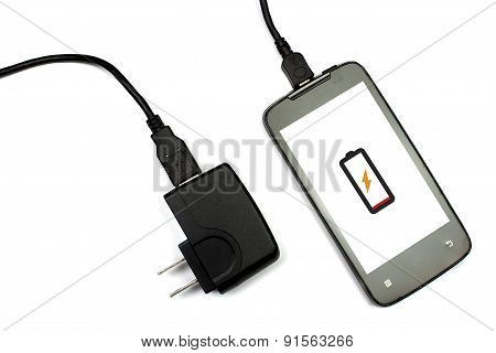 Cellphone And Charger On White Background, Isolated, Charging