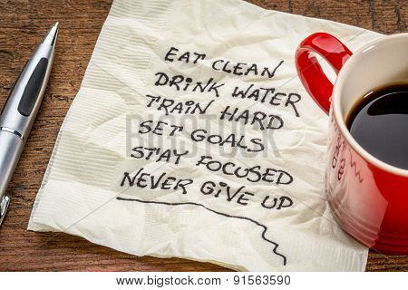 healthy lifestyle tips - handwriting on a napkin with a cup of coffee