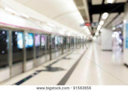 Defocused of the platform of station