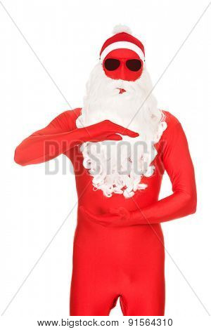 Santa in latex clothing holding copyspace.