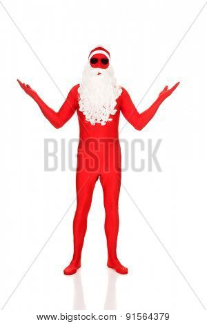 Full length santa in latex clothing showing copyspace.