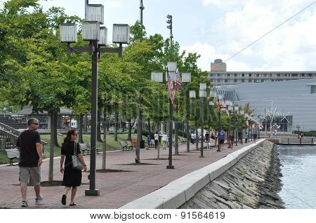 BALTIMORE, MARYLAND - SEP 1: The Inner Harbor in Baltimore, Maryland, on Sep 1, 2014. The Harbor is a historic seaport, tourist attraction and landmark.