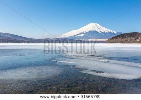 Mount Fuji at Iced Yamanaka Lake in Winter