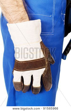 Worker hand with protection glove.