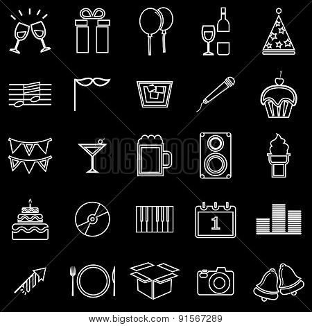 New Year Line Icons On Black Background