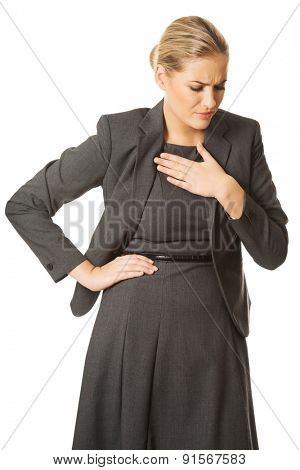 Woman having huge chest pain
