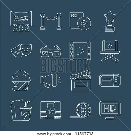 Movie Line Icon Set