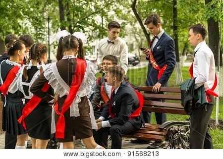 Russian Schoolchildren Celebrating Graduation