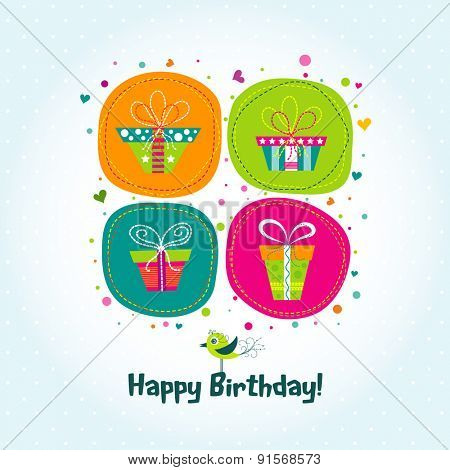 Template greeting card, gifts, vector illustration
