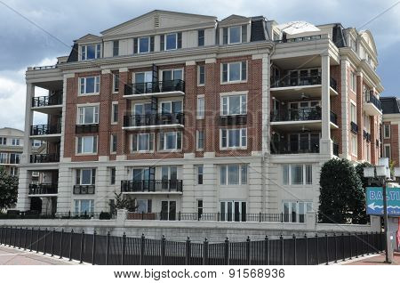 BALTIMORE, MARYLAND - SEP 1: Luxury condominiums at the Inner Harbor in Baltimore, Maryland, on Sep 1, 2014. The Harbor is a historic seaport, tourist attraction and landmark.