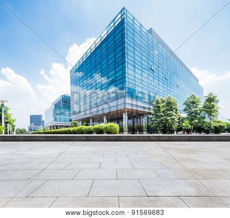 Chengdu,China-July 23,2015:Empty road and modern building in chengdu.It's epitome of fast development in southwest china.