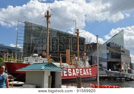 BALTIMORE, MARYLAND - SEP 1: The National Aquarium at the Inner Harbor in Baltimore, Maryland, as seen on Sep 1, 2014. The Harbor is a historic seaport, tourist attraction and landmark.