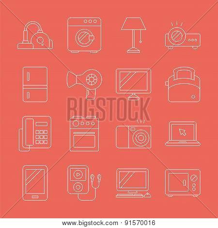 Home Appliances Line Icon Set