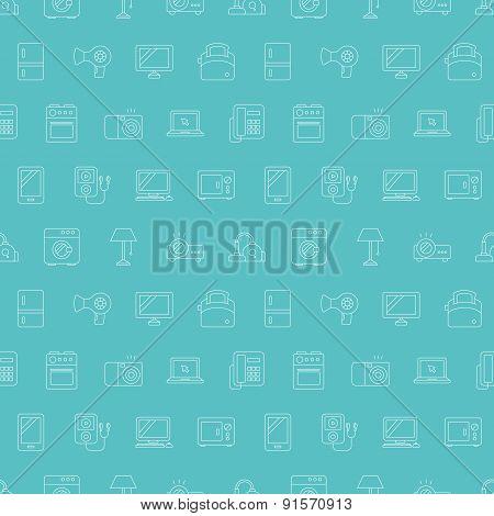 Home Appliances Line Icon Pattern Set