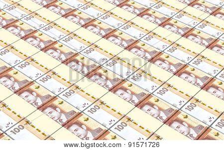 Moroccan dirhams bills stacks background.