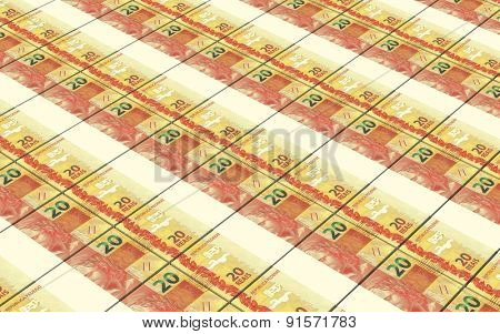 Brazilian reais bills stacks background.