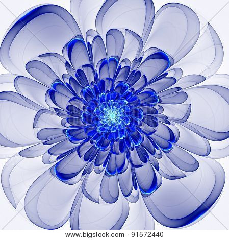 Beautiful Blue Flower On White Background. Computer Generated Gr