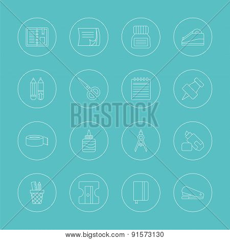 Stationery Line Icon Set