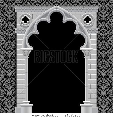 Stone gothic arch and wall in black and white colors on classic vintage background. Antique architecture frame