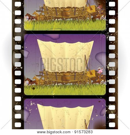 Vintage western film strip with an covered wagon in prairie. Vertical seamless pattern background