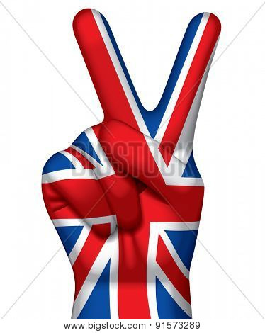 Hand with victory sign painted in flag of Great Britain against a white background