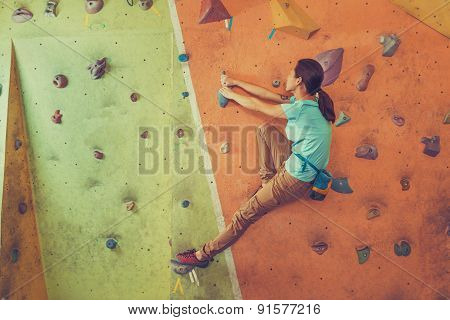 Active Girl Climbing Indoor